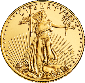 A genuine 2014 American Eagle Gold one-ounce uncirculated coin. (United States Mint image.)