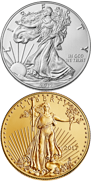 2017 silver and gold American Eagle bullion coins